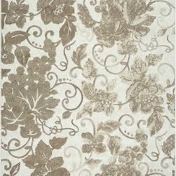 """Dynamic Rugs - Dynamic Rugs Mysterio 1201-101 (Ivory) 7'10"""" x 10'10"""" Rug - Colorations in this new collection features the interlacing of metallic tones, from pewter to lighter silver, and natural shades of browns, beiges and Ivory in transitional designs to complement today's modern, high fashion looks in home decoration. The rugs are power woven in Belgium with a dense heat set polypropylene pile. In the construction random double pointing density and drop stitch weaving techniques are used to create lovely textured finishes which are evident both visually and to the touch."""