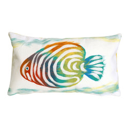 """Trans-Ocean - Rainbow Fish Green Pillow - 12""""X20"""" - The highly detailed painterly effect is achieved by Liora Mannes patented Lamontage process which combines hand crafted art with cutting edge technology.These pillows are made with 100% polyester microfiber for an extra soft hand, and a 100% Polyester Insert.Liora Manne's pillows are suitable for Indoors or Outdoors, are antimicrobial, have a removable cover with a zipper closure for easy-care, and are handwashable."""