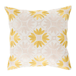 "Kathy Kuo Home - Dades Global Bazaar Cotton Down Yellow Tile Pillow - 20"" x 20"" - * 20 inches high x 20 inches wide"
