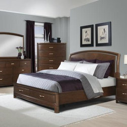 Klaussner Furniture - Eclipse 6 Piece Bedroom Set - ECLIPSEKBED-6Set - Set includes King Bed, Dresser, Mirror, Nightstand, Chest and Media Chest