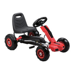 Vroom Rider - Vroom Rider Power Pedal Go Kart Riding Toy - VRPK10-RED - Shop for Go Karts from Hayneedle.com! The Vroom Rider Power Pedal Go Kart Riding Toy encourages physical activity builds strength and fine tunes co-ordination while ensuring your child has a lot of fun. With a 3-point steering wheel your child will enjoy total control while pneumatic tires ensure a smooth ride. The ergonomic adjustable seat with high backrest lets your child sit comfortably for hours while riding round the block. Sturdily constructed of polypropylene and iron for durability this pedal go-kart comes in a choice of vibrant colors that kids will love. For ages 3 to 7 years. Weight capacity: 66 lbs. About Vroom RiderConsidering the safety and well being of a child as being of paramount importance Vroom Rider a Merske LLC company enforces very strict safety and quality tests to make their toys absolutely safe to use. They believe that entertainment is crucial for children's development and achievement of new skills which is why they hire only specialists within the industry to research and design products that are safe useful durable and affordable. By using their own products in their homes as well as listening to their customers' feedback Vroom Rider is able to offer products that consistently meet their customer's expectations.