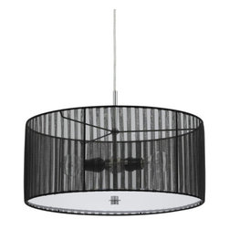 Cal Lighting - Cal Lighting FX-3525/1P Nianda 2 Light Pendant with Striped Shade - Cal Lighting FX-3525/1P Nianda 2 Light Pendant with Striped ShadeThis sleek and modern pendant features a striped fabric drum shade, making it a wonderful selection for any room in your home.Cal Lighting FX-3525/1P Features: