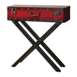 Uttermost - Taggart Red Console Table - Antiqued Red Simulated Trunk On A Rubbed Black, Solid Poplar Wooden Base.
