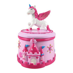 Pink Princess Castle and Unicorn Trinket Box - This pretty pink princess castle trinket box is the perfect addition to any little girl`s room! The white unicorn who guards the castle has a hot pink mane and matching glittery wings, poised for flight. Hot pink crenellations surround the bottom of the trinket box, while whimsical stars with rhinestone centers hang in the sky. Made of cold cast resin, each piece is lovingly hand-painted and measures 4 1/2 inches tall by 3 1/2 inches across. Surprise your pretty princess with a special gift- we have a limited supply, get yours today!