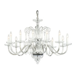 """Inviting Home - Amadeus Crystal Glass Chandelier - Amadeus crystal glass chandelier; 39"""" x 28""""H (12 lights); assembly required; 12 light chandelier made of hand-blown smooth crystal glass with traditional crystal trimmings all metal parts are chromium plated; Preciosa genuine Czech crystal; * ready to ship in 2 to 3 weeks; * assembly required; The design of all crystal glass chandeliers are based on the combination of classical shapes and modern decorations. Plane shapes in clear crystal or other colors mingle with decorative elements such us straight cuts optic or spun crystal glass. As fixed stars among lighting fixtures these types of chandeliers become timeless sources of illumination suitable for various interiors. These chandeliers are manufactured using oxygen fuel technology. Only few manufacturers in Europe that use oxygen fuel technology. This allows for better control and manage the preparation process of glass. The result is impeccably pure glass of highest quality with minimal amount of visual irregularities. Machine cut crystal trimmings with the highest brilliance and dispersion possible. Every component passes thorough strict internal Quality Control processes. Highest quality European production with certified standards. UL approved - dry location; hardwire; 12x E12/14 - 40W bulbs; bulbs not included. 3 to 4 feet chain drop provided. Hand crafted in Czech Republic."""
