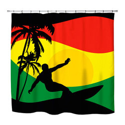 """Surfer Bedding - """"Surfer Mon"""" Jamaican Colored Shower Curtain - """"Surfer Mon""""  Shower Curtain from our Surfer Bedding Rasta-Reggae Flavored Surf Bed and Bath Collection."""