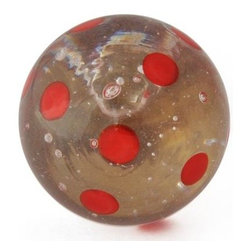 "Knobco - Polka Dotted Glass Knob, Clear knob with Pink Polka dots - Clear knob with Red Polka dots glass knob. Unique glass knobs for your kitchen cabinets. 1.1"" in   diameter.   Includes screws for installation."