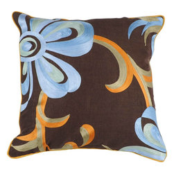 """Surya - Surya P-0201 Pillow, 22"""" x 22"""", Poly Fiber Filler - Embrace nature with this fashionable pillow from the Jill Rosenwald collection. Featuring cool earth tones of brown, beige, orange, and light blue, this piece creates a natural feel in both the coloring and flower on vine embroidery. This pillow contains a zipper closure and provides a reliable and affordable solution to updating your home's decor."""