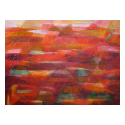 """Original Large Abstract Landscape Painting, """"Tierra Rojo"""" - Part of my meditative, abstract landscape series on a large-size canvas. Expressive, colorful and textured artwork is created using acrylic paint and mediums on stretched canvas. Many layers and glazes of acrylic paint create a rich and vibrant surface. Symbols etched into the surface of the paint add extra dimension to the painting and catch the light beautifully."""