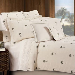 Lamont Home - The Palm Quilt - Enjoy the gentle feel of summer year-round with the elegant Palm quilt. This tasteful and chic bedding features a palm tree motif on a soothing off-white ground with all-over quilting for a sumptuous visual texture.
