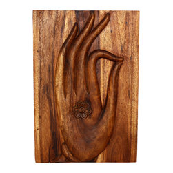 Kammika - Mudra Hand Panel Sust Wood 20 x 30 inch Ht w Eco Friendly Livos Chestnut Oil Fin - Our Mudra Hand Sustainable Monkey Pod Wood Buddha Wall Panel 20 inch x 30 inch height in 3D with Eco Friendly, Natural Food-safe Livos Chestnut Oil Finish is our interpretation of the Mudra, often associated with Walking Buddha. The tip of the thumb touches the tip of the index finger, stimulating knowledge and ability. The Mudra was possibly used as a symbol of good intentions proposing friendship when approaching strangers. Livos Chestnut oil creates a water resistant, food safe matte finish. These natural oils are translucent, so the wood grain detail is highlighted. The oil creates rich dark brown tones; the more it is buffed the more lustrous the surface will become. There is no oily feel, and cannot bleed into carpets. There are two embedded flush mount Keyhole hangers for a protruding screw from your wall. Carved by craftspeople in Thailand, who spend hours shaping, sanding, and finishing these wonders of wood, each is a work of art. Made of sustainable Monkey Pod wood grown specifically for the wood carving industry, each panel is carved out of joined panels. Variations may occur; but one thing will remain consistent, the beauty and joy each will bring to you. We use eco friendly finishing oils. Crafted from sustainable Monkey Pod wood, we make minimal use of electric hand sanders in the finishing process. All products are dried in solar or propane kilns. No chemicals are used in the process, ever. Each eco friendly art piece is packaged with cartons from recycled cardboard with no plastic or other fillers. As this is a natural product, the color and grain of your piece of Nature will be unique, and may include small checks or cracks that occur when the wood is dried. Sizes are approximate. Products could have visible marks from tools used, patches from small repairs, knot holes, natural inclusions or holes. There may be various separations or cracks on your piece when it arrives. There may be some slight variation in size, color, texture, and finish color.Only listed product included.