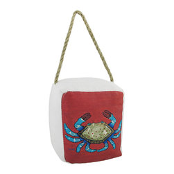 Zeckos - Beach Sea Life Doorstop 6 In. - Crab - This cotton canvas doorstop adds a subtle, yet colorful, accent to rooms with beach or nautical decor. It measures 6 inches tall, 5 1/2 inches wide, 5 inches deep, and is filled with sand to give it some weight. It has a twisted rope hanger, so it may be used to protect your wall from the door handle or knob, or it may be used on the floor to hold the door open. It is recommended to spot clean, only. This doorstop is fun and functional, and makes a great gift.