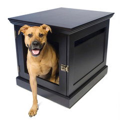 DenHaus - TownHaus Small Espresso Pet Den - - Only the TownHaus is a superbly sturdy piece of furniture on the outside and the cozy space your dog craves on the inside. - Features a uniquely designed door with removable grate; so you can allow your pets to come and go freely, or safely secure them. - *Good to know: Best suited for dogs that are crate trained and not prone to destructive chewing. - The finish is non-toxic and free of mercury, lead, cadmium and chromium.- Weight: 60 lbs.
