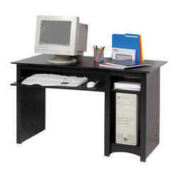 Prepac - Prepac Sonoma Black 2-Piece Home Office Desk - A great addition to your study, office or den, the computer desk includes a roll-out keyboard tray, a deep bottom shelf designed to hold a computer CPU, as well as an adjustable shelf for books and office supplies. Constructed from a combination of high quality, laminated composite woods, this attractive series offers extremely good value for stylish yet budget conscious buyers. Shown with the wall hutch (Sold separately). With its unique design, the wall hutch can be mounted above Prepac's computer desks to store books, papers, and computer disks, or on its own as a floating bookcase for collectibles and accessories. It has four adjustable shelves and fits binders perfectly. Installation is easy using a two-piece hanging rail system. Shown with BWD-4870 & BDD-2948 computer desks (Sold separately). Available in black or maple finish