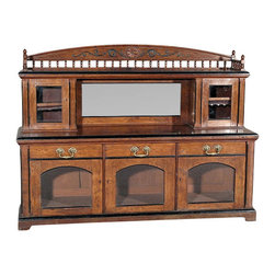 Antiques - Antique English 6Ft Solid Pollard Oak Buffet Sideboard Server w/ Mirror - Country of Origin: England