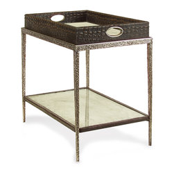 Kathy Kuo Home - Bindi Hollywood Regency Tray Crocodile Silver Mirror Side End Table - Brown - Contrasts are what make the world interesting, and this is certainly the case when admiring this tray topped tea table hewn from mock crock and supported by textured stainless steel. With espresso brown black mock croc and a matte, textured finish on the metalwork this piece celebrates different textures and effects with attractive, urbane results.