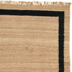 Serena & Lily - Jute Border Rug  Black - The beauty of this rug lies in its simplicity the chunky lines, the natural texture, the hand-tied fringe. For a room that's brimming with color and pattern, it's quite the grounding influence.