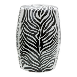 "Oriental Furniture - 18"" Zebra Leaf Porcelain Garden Stool - Bring the safari to your home with this beautiful zebra-striped garden stool! Based on a classic Chinese design, and featuring high-contrast detailing and a low-gloss glaze on porcelain, this decorative stool will stand out in your home, garden, or place of business. With its open base and ornamental, ventilating cut-outs, this item is lightweight, rain resistant, and suitable for outdoor use. Equally functional as seating, a low end table, or a plant stand, this will bring exotic savannah flair to your personal decorating."