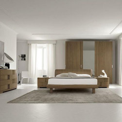 Made in Italy Wood Luxury Bedroom Furniture Sets with Extra Storage - This walnut contemporary modern bedroom set features solid wood construction and lights that are recessed in the headboard.