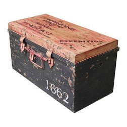 """Pre-owned """"1862"""" Metal Trunk - This gorgeous industrial-chic trunk is crafted with distressed metal and can be used as a coffee table, to store magazines or to add a vintage-look appeal to any room!"""