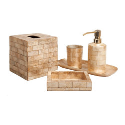 Six Piece Gold Brick Capiz Bathroom Set - Cut into the delightful semblance of small-scale masonry, the top-of-the-line Gold Brick Capiz Bathroom Set is an imported six-piece collection of vanity necessities crafted in gorgeous golden capiz shell from the Philippines.  Made from responsibly-sourced ocean shells, the set includes a sleek gold-topped soap pump, a square tissue box cover, and more so you can coordinate your bathroom to elegant uptown perfection.