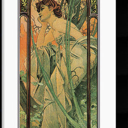Amanti Art - Soir (Evening) Framed Print by Alphonse Mucha - The fresh yet delicate colors used by Mucha, combined with exuberant floral motifs and, in particular, with four beautiful women make this a particularly appealing series. Each woman is set within natural surroundings which both reflect her mood and enhance her beauty. The whole is then enclosed in an elaborate ornamental frame reminiscent of a Gothic window.(from mucha site)Celebrated for his rich, ornate Art Nouveau masterpieces, Mucha is considered one of the most influential artists of his era.