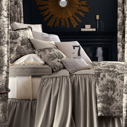 """Legacy Home - Legacy Home Twin Dust Skirt - Coal and ivory ticking-stripe cotton """"Sydney"""" bedding evokes feelings of down-home comfort while quilted """"Colonial Toile"""" puts the ensemble in a French country mood. By Legacy Home. USA/imported. Dry clean. Corner-pleated bed spreads with flat piping...."""