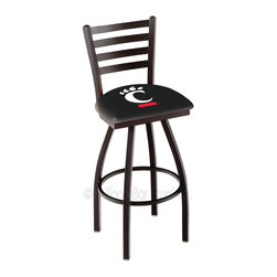 Holland Bar Stool - Holland Bar Stool L014 - Black Wrinkle Cincinnati Swivel Bar Stool - L014 - Black Wrinkle Cincinnati Swivel Bar Stool w/ Ladder Style Back belongs to College Collection by Holland Bar Stool Made for the ultimate sports fan, impress your buddies with this knockout from Holland Bar Stool. This contemporary L014 Cincinnati stool carries a defined Ladder-style-back that doesn't just add comfort, but sophistication. Holland Bar Stool uses a detailed screen print process that applies specially formulated epoxy-vinyl ink in numerous stages to produce a sharp, crisp, clear image of your desired logo. You can't find a higher quality logo stool on the market. The plating grade steel used to build the frame is commercial quality, so it will withstand the abuse of the rowdiest of friends for years to come. The structure is powder-coated black wrinkle to ensure a rich, sleek, long lasting finish. Construction of this framework is built tough, utilizing solid welds. If you're going to finish your bar or game room, do it right- with a Holland Bar Stool. Barstool (1)