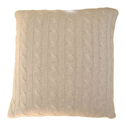 "Used Restoration Hardware Cableknit Cashmere Pillow - This pillow is a gorgeous ""Oatmeal"" color with a slight hint of pink. Casual elegance from Resto at its best!  (Note: this item is no longer available new from RH.)  Includes pillow insert."