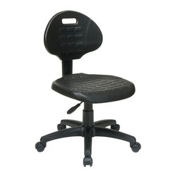 Office Star - Work Smart KH Series KH520 Task Chair - Black Self-Skinned Urethane - Task chair. Contour self skinned urethane seat and back with built-in lumbar support. One touch pneumatic seat height adjustment. Back height adjustment. Heavy duty nylon base with dual wheel carpet casters.
