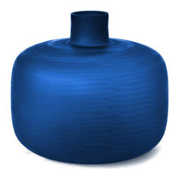 18KARAT - Cobalt Chisel Vase - The Chisel glass vase glows like a cut gemstone when it catches the light. The rounded shape is reminiscent of ming vases in it's classic simplicity.