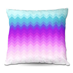 DiaNoche Designs - Pillow Linen by Organic Saturation - Pastel Ombre Chevron - DiaNoche Designs works with artists from around the world to create astouding and unique home decor products.  Add a little texture and style to your decor with our Woven Linen throw pillows.  The material has a smooth boxy weave.  Each pillow is machine loomed, then printed and sewn ALL IN THE USA!!!  100% smooth poly with cushy supportive pillow insert with a hidden zip closure. Dye Sublimation printing adheres the ink to the material for long life and durability. Double Sided Print, machine wash upon arrival for maximum softness. Product may vary slightly from image.