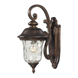 Elk Lighting - Elk Lighting 45020/1 Lafayette 1 Light Outdoor Sconce In Regal Bronze - This Classic Outdoor Design Incorporates A Beautifully Detailed Backplate And Timeless Arching Arm That Holds A Flowing, Blown Water Glass Body. Constructed Of Durable Cast Aluminum And Finished In Regal Bronze.