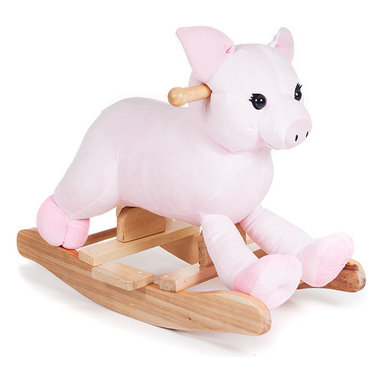 Happy Trails - Plush Rocking Hamlet Pig - Wood Core. Age: 2-4 years . Color: Pink. 23.75 in. L x 13.25 in. W x 18 in. H (8 lbs.)