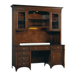Hooker Furniture - Computer Credenza - Beautiful and classy, this gorgeous hardwood credenza has a drop front center drawer for your keyboard, built-in filing system and a power bar with surge protector for your computer. Organization has never looked so good.