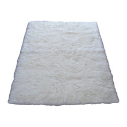 "Walk on Me - Snowy White Polar Bear Rectangle - White Sheepskin Faux Fur Rug (28""x43"") - Exquisitely dreamy - soft, shaggy, sumptuous fibers - resonates beauty and comfort - natural white - machine washable, hypoallergenic, non-slip - long pile - Made in France"