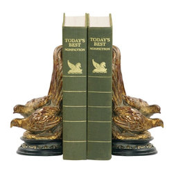 Sterling Industries - Sterling Industries Pair Pheasant Bookends X-5211-19 - Mirror image designs add to the appeal of this set of Sterling Industries bookends. Each bookend features a charming pheasant design with two birds, perched upon a black beveled base. Gold accenting to the base stands out and compliments the gold finish of the birds.