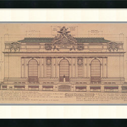 Amanti Art - Roger Vilar 'Grand Central (Facade) (small)' Framed Art Print 31 x 19-inch - Grand Central Terminal is one of the most renowned of New York city landmarks.  The building was designed by the architecture firm  of Warren and Wetmore, completed in 1913 and a beautiful example of Beaux-Arts architecture.