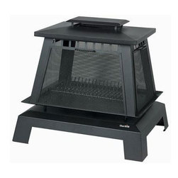 Char-Broil - Trentino Deluxe Fireplace Black - Trentino Deluxe Fireplace with Gloss Black Porcelain enamel Steel stand