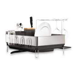 Simplehuman - simplehuman Steel Frame Dishrack with Wine Glass Holder - simplehuman steel frame dishrack has an elegant solid steel frame that matches the aesthetic of upscale kitchen appliances.