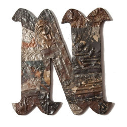 Ozark Folk Art - Ozark Folk Art Antique Tin Letter N - Small - This line of antique decorative symbols are handmade in the United States from reclaimed ceiling tin from the early 1900's. Constructed from various pieces of tin hammered to evoke a patch work effect each symbol has a unique color pattern and texture. These historic symbols have a beautiful weathered and aged look. Shades level of distress and tin patterns vary based on the age and location of their original structure. The tin is secured to a painted black solid wood backing with hanging hardware attached. They are easy to hang on the wall or lean on a shelf a bit of history perfect or any decor.