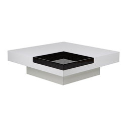 White Line Imports - Tiffany High Gloss White Square Coffee Table with Black Tray - This square coffee table with removable high gloss black tray  is wonderful, unusual occasional table. The table top and base are finished in high gloss white.