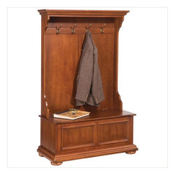 Home Styles - Home Styles Homestead Hall Tree in Distressed Warm Oak Finish - Home Styles - Hall Trees - 552749 - The Homestead Hall Tree is constructed of hardwood solids and veneers in a rich multi-step distressed warm oak finish. It features four coat hooks a bench seat and a storage compartment hidden underneath. Shaped crown base moldings a raised panel front design and bun feet all add to this highly detailed hall tree. Add traditional charm to your home with the Homestead Hall Tree. The Homestead Collection by Home Styles Furniture offers a slight measure of Old-English charm. This collection features a warm oak finish and fluted-carved legs for a more traditionally-refined look and feel. Ready to astound you with its radiant attractiveness the Home Styles Furniture Homestead Collection is sure to garner praise from all who see it.