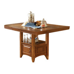 Steve Silver - Tulsa Counter Table With 16in. Butterfly Leaf - The Tulsa dining table provides a perfect solution to farmhouse dining with clean, classic lines. This table has a 16 in.  self storing butterfly leaf and a functional storage base.