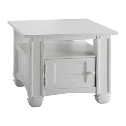 None - Nantucket Chairside Table - An everyday collection distinguished by fresh cottage white tables with louvered doors,natural sea grass baskets,plank style tops,and beveled glass tops.