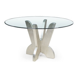 Bassett Mirror Company - Bassett Mirror Miramar Round Glass Dining Table - Miramar Round Glass Dining Table belongs to Miramar Collection by Bassett Mirror Company Miramar Round Glass Dining Table Table Base (1), Table Top (1)