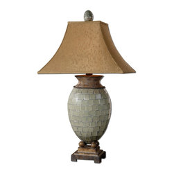 Uttermost - Single Light Bulbous Mosaic Tiled Table LampKayson Collection - Pale blue green mosaic tiles with heavily burnished chestnut brown details.