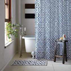 Trellis Shower Curtain - Bold geometrics inspired by Mediterranean tilework refresh the bathtub in crisp navy and white.