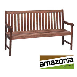 Amazonia - Milano Bench - Offering a welcoming profile and timeless appeal,this Milano garden bench is made from solid eucalyptus wood for durability. This beautiful bench is ideal for a porch or patio and is a fantastic addition to your poolside furniture collection.
