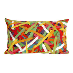 """Trans-Ocean Inc - Pick Up Sticks Jewel 12"""" x 20"""" Indoor Outdoor Pillow - The highly detailed painterly effect is achieved by Liora Mannes patented Lamontage process which combines hand crafted art with cutting edge technology. These pillows are made with 100% polyester microfiber for an extra soft hand, and a 100% Polyester Insert. Liora Manne's pillows are suitable for Indoors or Outdoors, are antimicrobial, have a removable cover with a zipper closure for easy-care, and are handwashable.; Material: 100% Polyester; Primary Color: Yellow;  Secondary Colors: blue, green, orange, pink, white; Pattern: Pick Up Sticks; Dimensions: 20 inches length x 12 inches width; Construction: Hand Made; Care Instructions: Hand wash with mild detergent. Air dry flat. Do not use a hard bristle brush."""